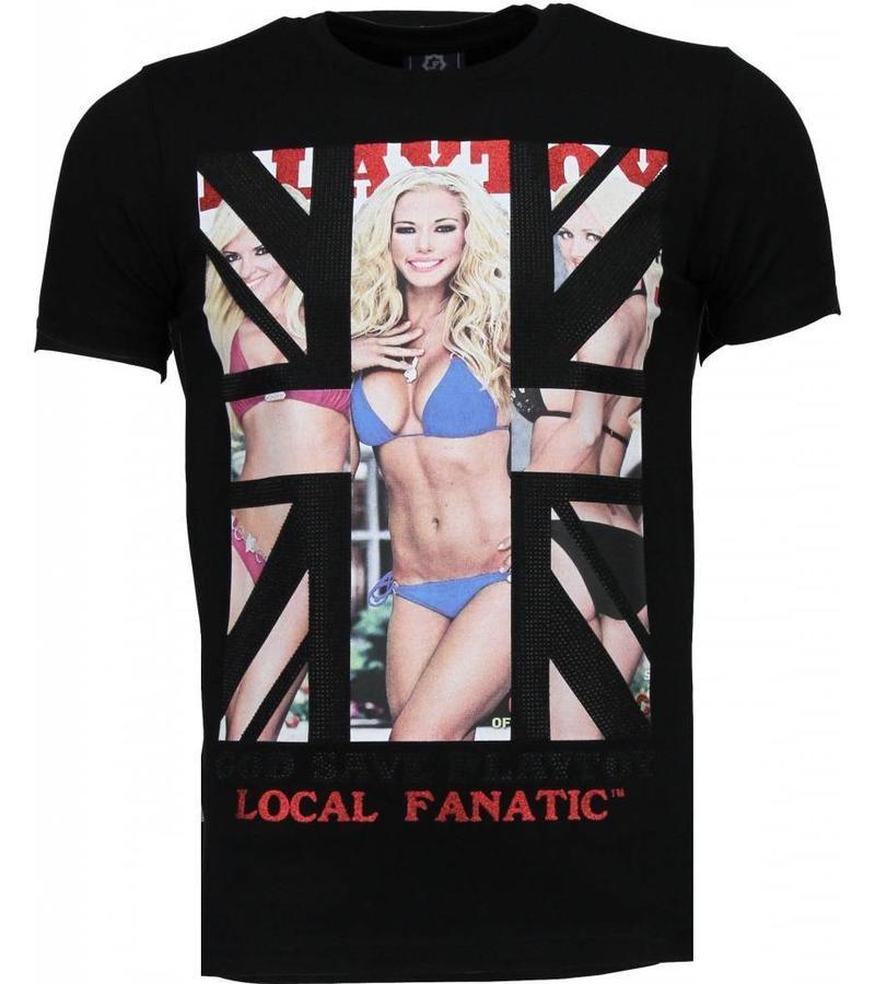 Local Fanatic God Save Playtoy Rhinestone - Man T Shirt - 4778Z - Svart