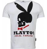 Local Fanatic God Save Playtoy Rhinestone - Herr T Shirt - 4778W - Vit