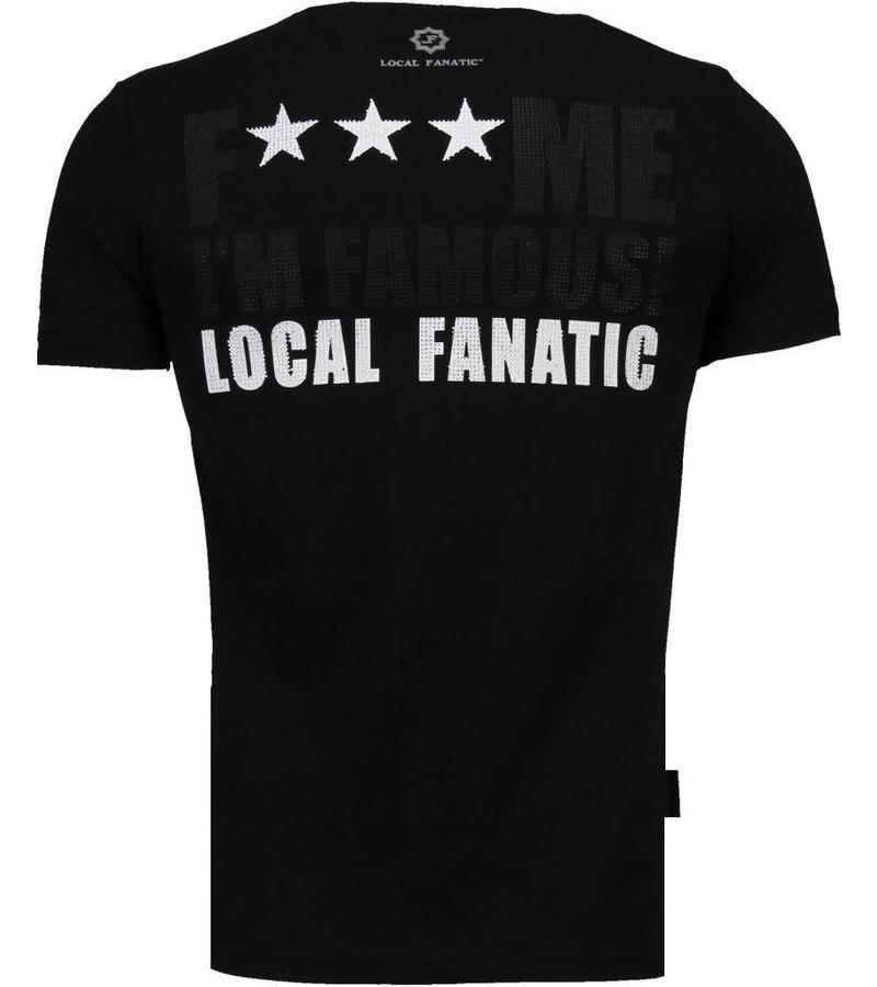 Local Fanatic Kim Kardashian Rhinestone - Man T Shirt- 4779Z - Svart