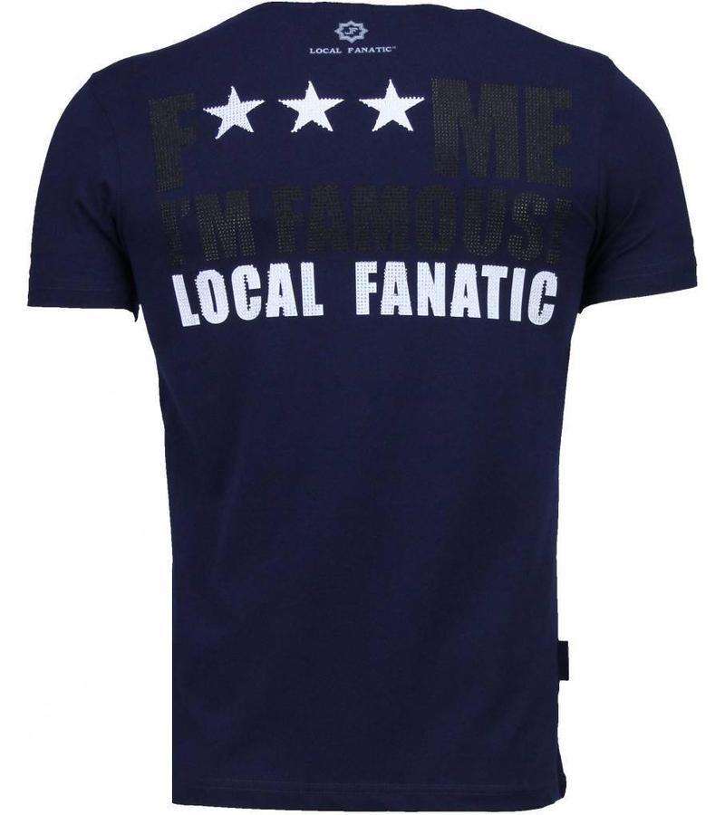 Local Fanatic Kim Kardashian Rhinestone - T Shirt Herr - 4779NB - Marinblå
