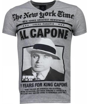 Local Fanatic Al Capone Rhinestone - T Shirt Herr - 4784G - Grå