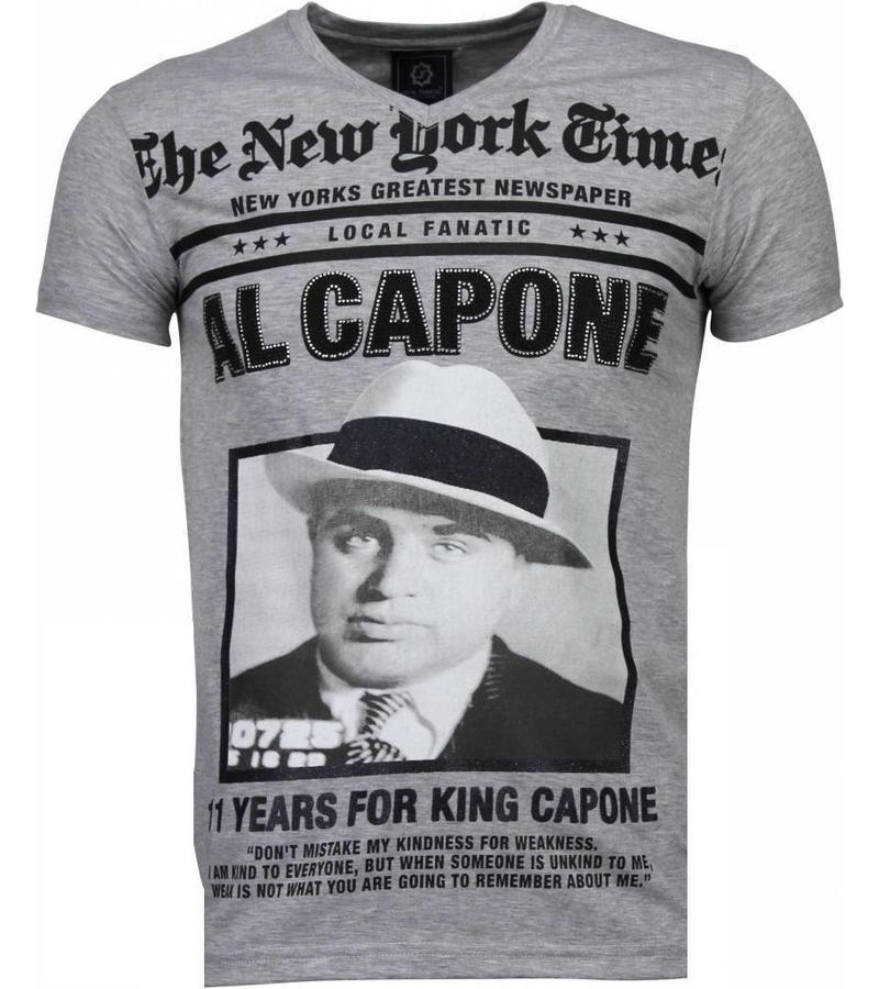 Local Fanatic Al Capone Rhinestone - T Shirt Herr - 4784G - Grå