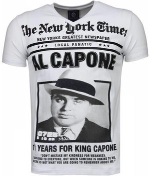 Local Fanatic Al Capone Rhinestone - Herr T Shirt - 4784W - Vit