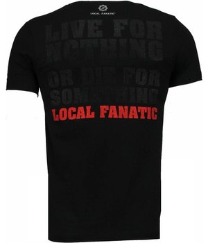 Local Fanatic Rambo Rhinestone - Man T Shirt - 4776Z - Svart