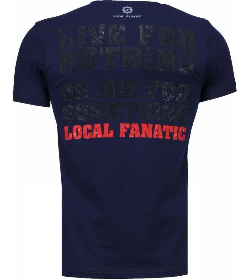 Local Fanatic Rambo Rhinestone - T Shirt Herr - 4776NB - Marinblå