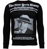 Local Fanatic Al Capone - Rhinestone Sweater - Zwart