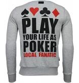 Local Fanatic Hot & Famous Poker Rhinestone - Man Tröja - 4905G - Grå