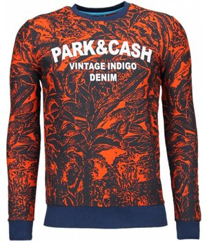 Black Number Park & Cash Sweater - Man Tröja - JX537O - Apelsin
