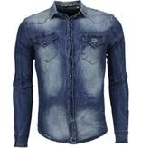 Enos Mörk jeansskjorta - Skjortor till män - DC-2078B - Blå