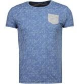 Black Number Blad Sommar Motiv - T Shirt Man - JX591B - Blå