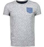 Black Number Blad Sommar Motiv - Herr T Shirt - JX591GS - Grå