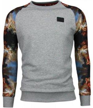 Local Fanatic Mythology Arm Motif Sweater - Herr Tröja - 5102G - Grå