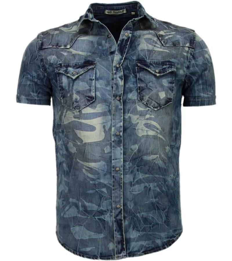 Enos Jeansskjorta kortärmad herr - Kortärmade herr skjortor - CJ-K-9022 - Blå