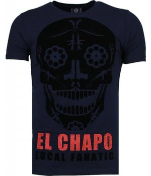 Local Fanatic El Chapo - Flockprint T-shirt - Navy