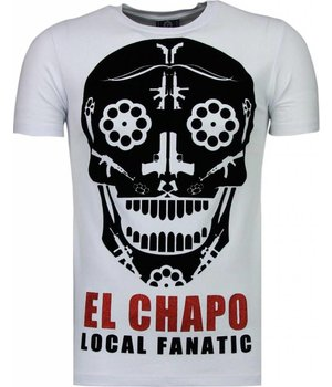 Local Fanatic El Chapo Flockprint - Herr T Shirt - 5084W - Vit