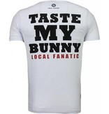 Local Fanatic Playtoy Bunny Rhinestone - T Shirt Herr - 5086W - Vit