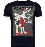 Local Fanatic Playtoy Bunny Rhinestone - Herr T Shirt - 5086N - Marinblå