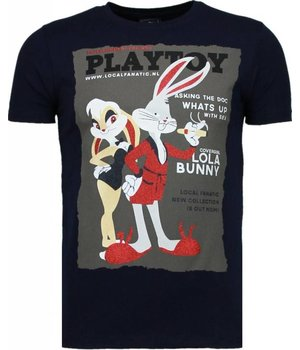 Local Fanatic Playtoy Bunny Rhinestone - Herr T Shirt - 5086N - Marinblå