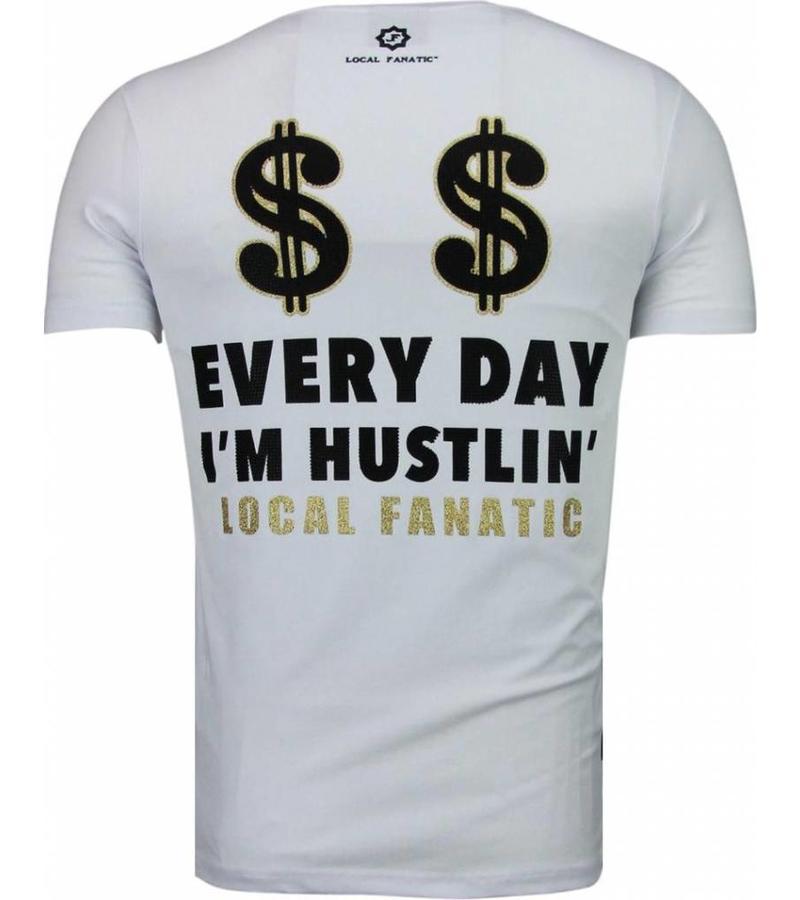 Local Fanatic Hustler Rhinestone - T Shirt Herr - 5087W - Vit