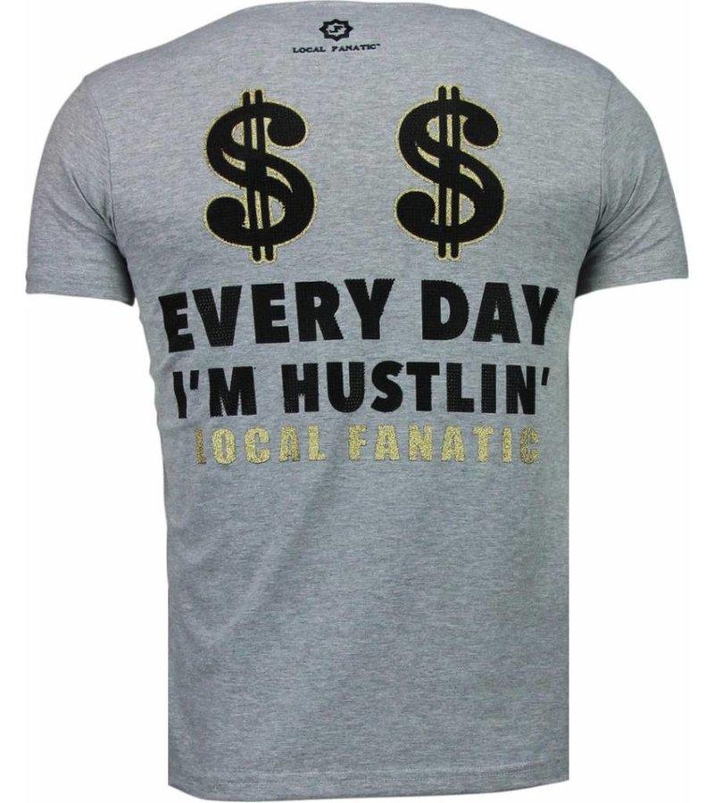 Local Fanatic Hustler Rhinestone - Herr T Shirt - 5087G - Grå