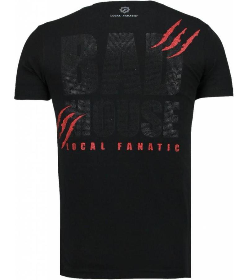 Local Fanatic Bad Mouse Smoking Rhinestone - T Shirt Herr - 5090Z - Svart