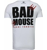 Local Fanatic Bad Mouse Smoking Rhinestone - Herr T Shirt - 5090W - Vit
