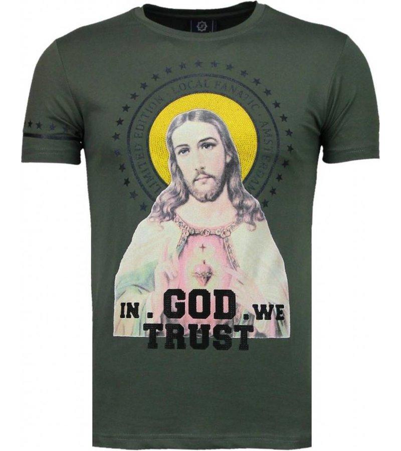 Local Fanatic Jesus God Trust Rhinestone - Man T Shirt - 5094G - Grön