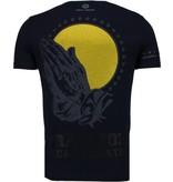 Local Fanatic Jesus God Trust Rhinestone - Herr T Shirt - 5094N - Marinblå