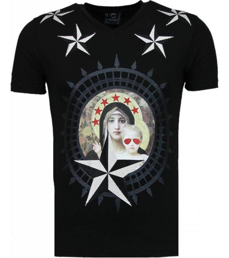 Local Fanatic Holy Mary Stars Rhinestone - Man T Shirt - 5097Z - Svart