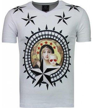 Local Fanatic Holy Mary Stars Rhinestone - T Shirt Herr - 5097W - Vit