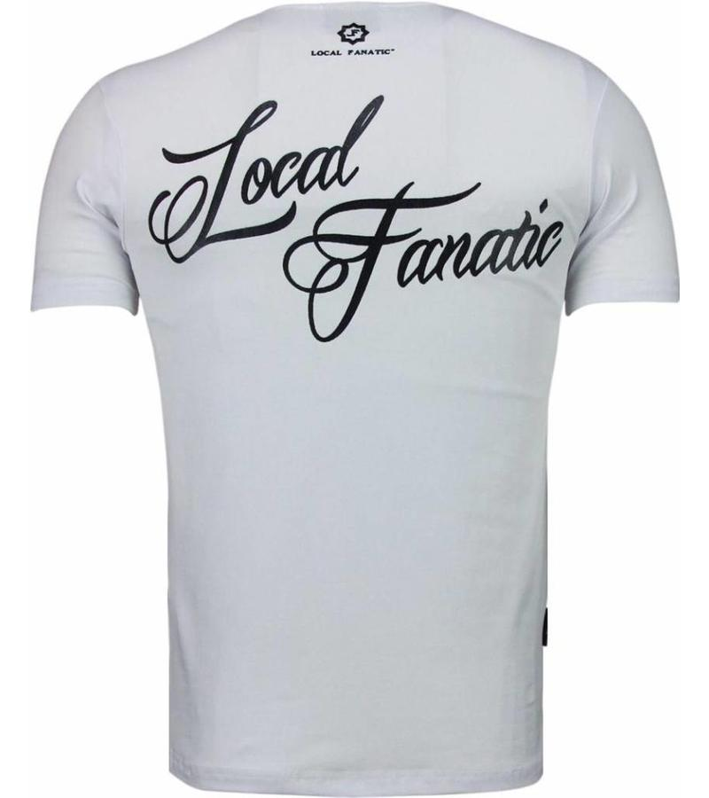 Local Fanatic Holy Mary Stars Rhinestone - T Shirt Herr - 5097W - Vit
