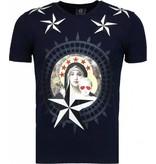 Local Fanatic Holy Mary Stars Rhinestone - Herr T Shirt - 5097N - Marinblå