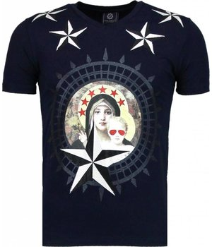 Local Fanatic Holy Mary Stars Rhinestone - Herr T Shirt - 5097N - Marinblå