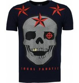 Local Fanatic Rough Player Skull Rhinestone - T Shirt Herr - 5101N - Marinblå