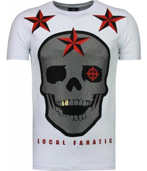 Local Fanatic Rough Player Skull - Rhinestone T-shirt - Wit