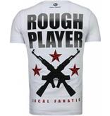 Local Fanatic Rough Player Skull Rhinestone - Herr T Shirt - 5101W - Vit