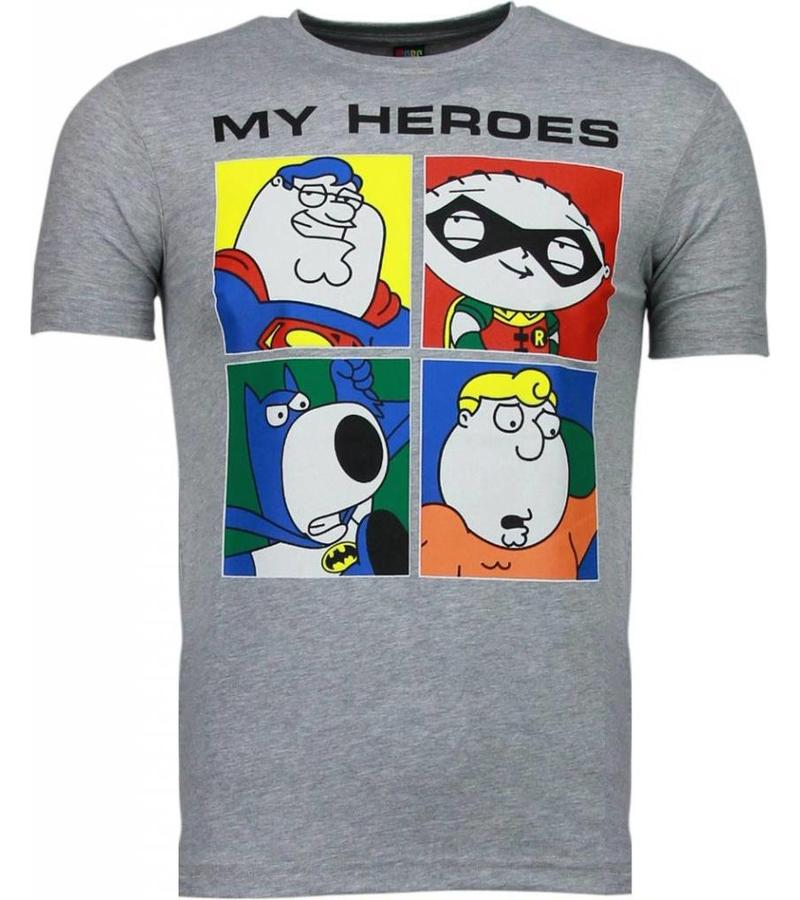Mascherano Super Family My Heroes - T Shirt Herr - 51001G - Grå