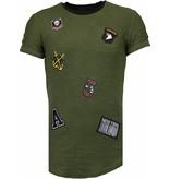 John H Exclusive Military Patches - Man T Shirt - T09150G - Grön