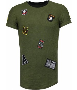 John H Exclusive Military Patches - Man T Shirt - T09150G - Grön