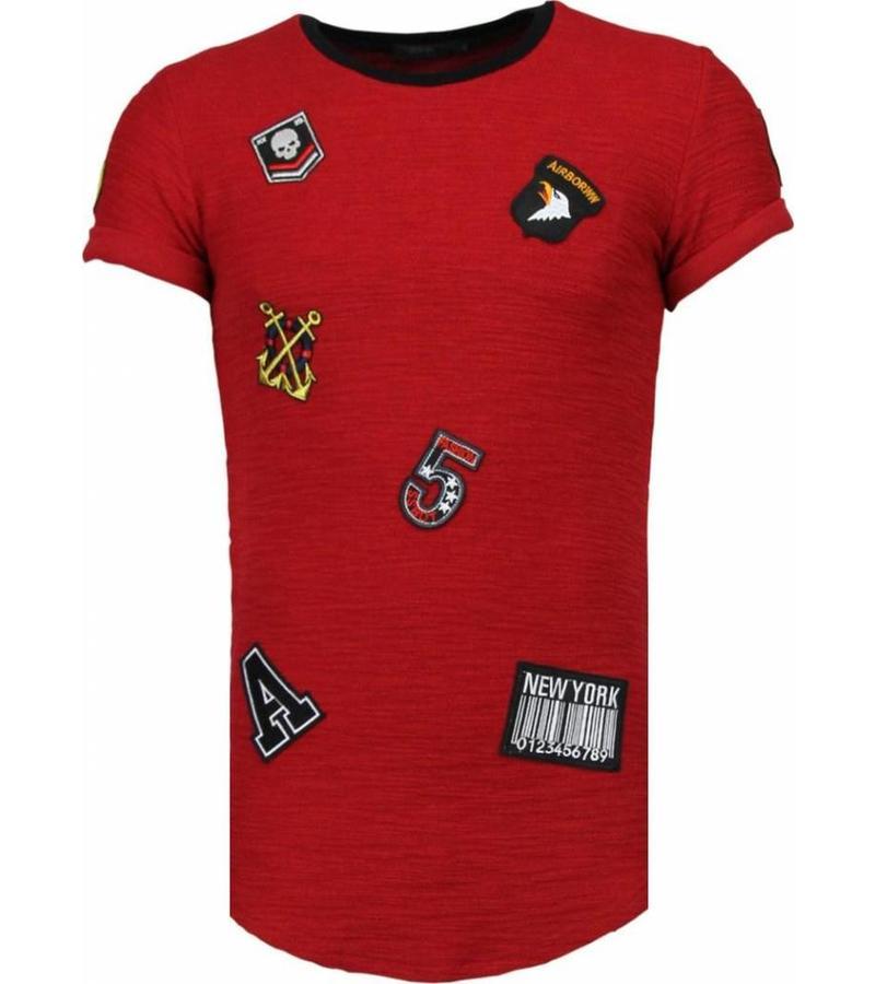 John H Exclusive Military Patches - T Shirt Herr - T09150BR - Bordeaux