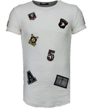 John H Exclusive Military Patches - Herr T Shirt - T09150W - Vit
