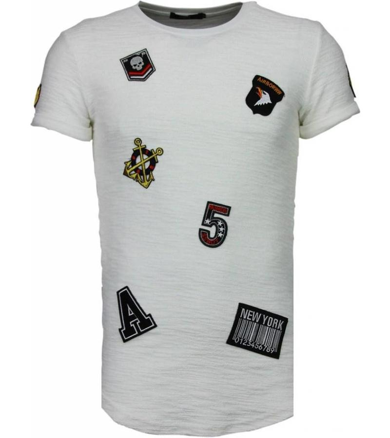 John H Exclusive Military Patches - Herr T Shirt - T09150W - Vit
