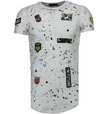 John H Military Patches Paint Splash - Herr T Shirt - T09134 / T09179 - Vit
