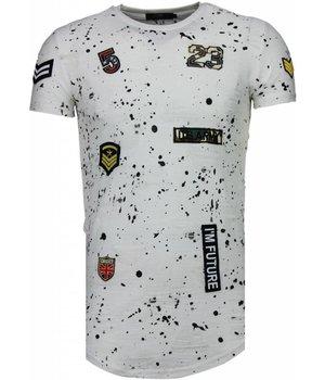 John H Exclusief Military Patches Paint Splash - T-Shirt - Wit