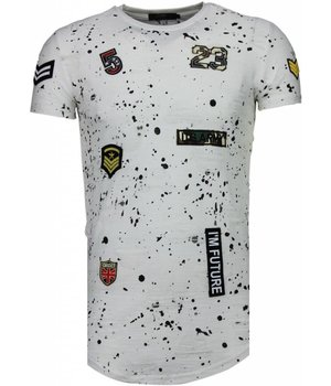 John H Military Patches Paint Splash - Herr T Shirt - T09134 / T09179 - Vit