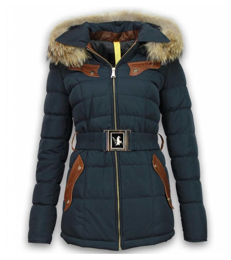 Milan Ferronetti Läderstycke sidofickor med bälte - Vinterjackor - Viva-R007 - Marinblå
