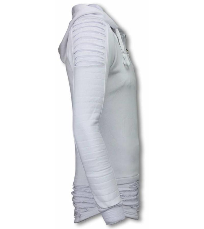 Berry Denim Ripped Shoulder - Long Fit Hoodie - Wit