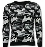John H MilitaryCamouflage Pullover - Man Tröja - P-707GR - Grå
