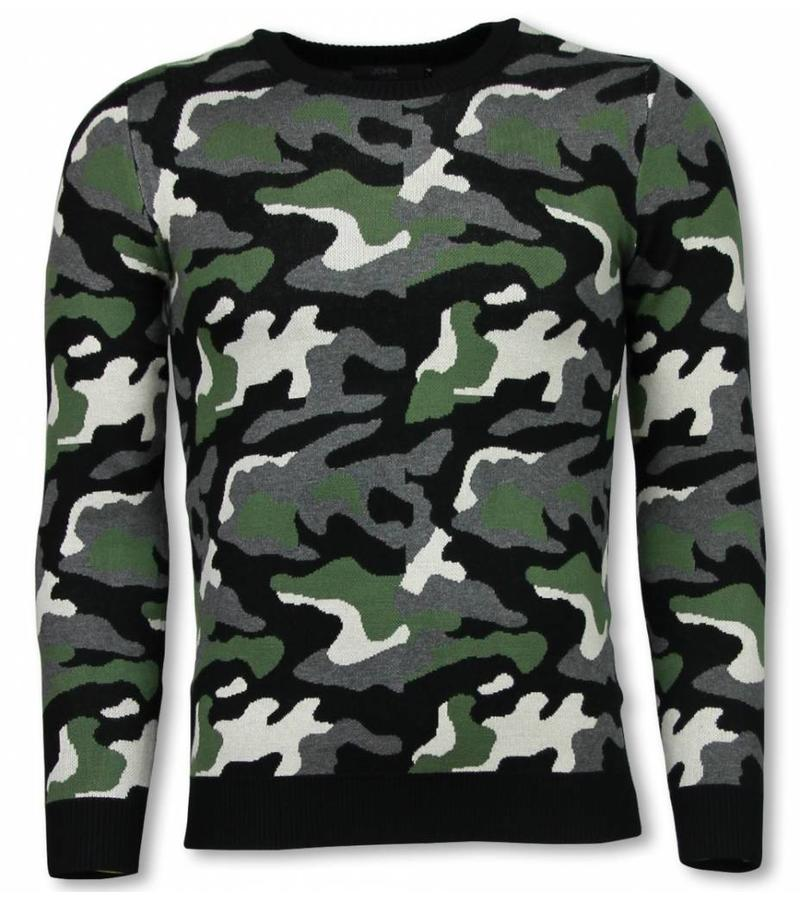 John H MilitaryCamouflage Pullover - Herr Tröja - P-707G - Grön