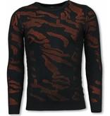 John H 3D Camouflage Neon Pullover - Herr  Tjocktröja - P-733O - Apelsin